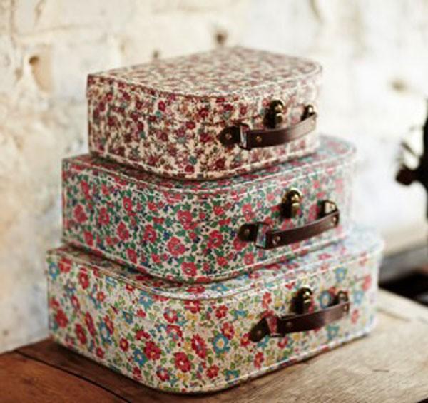 koffer kofferset nostalgie streublumen english garden 3er set ebay. Black Bedroom Furniture Sets. Home Design Ideas