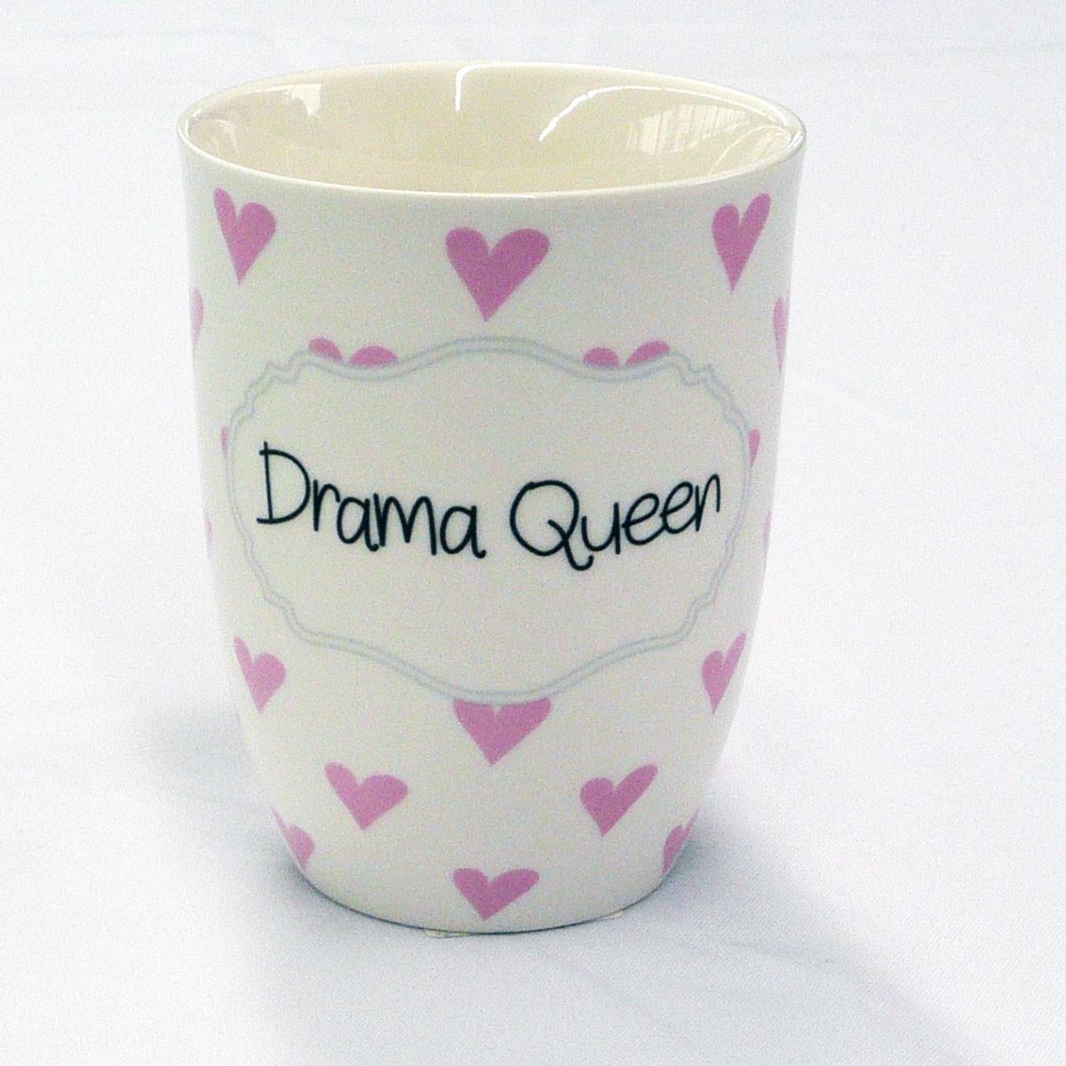 mea living kaffee tasse becher mit spruch drama queen rosa herzen ebay. Black Bedroom Furniture Sets. Home Design Ideas