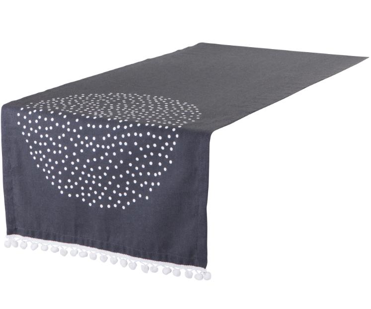 tischl ufer donja punkte bommel borte anthrazit 42x150cm ebay. Black Bedroom Furniture Sets. Home Design Ideas