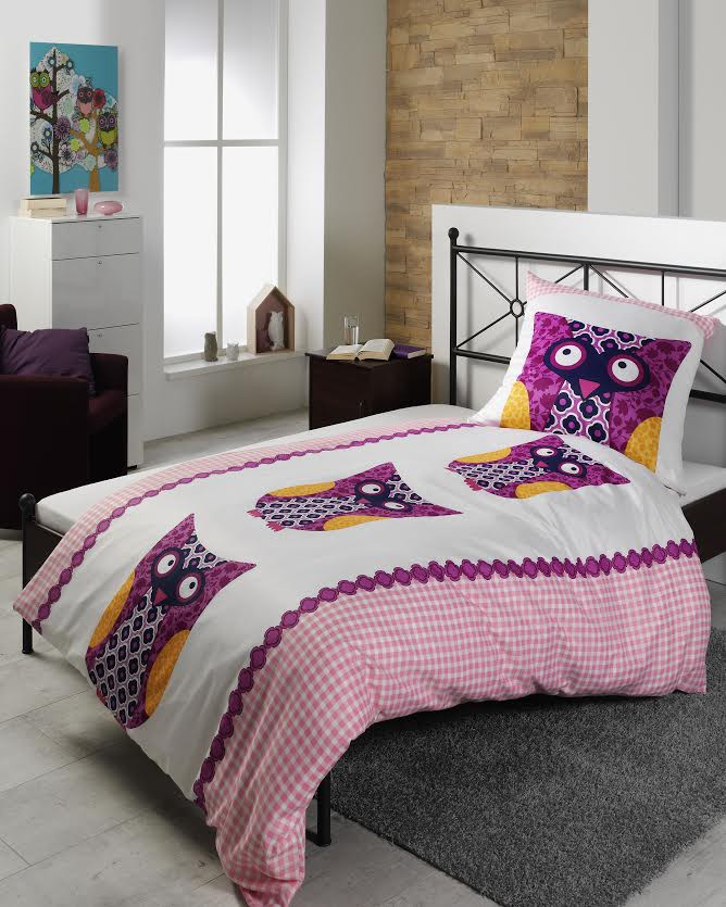 baumwolle polyester bettw sche eule bunt 135x200cm ebay. Black Bedroom Furniture Sets. Home Design Ideas