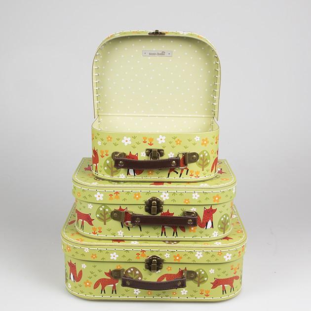 koffer kofferset kinder fuchs im wald gr n 3er set ebay. Black Bedroom Furniture Sets. Home Design Ideas