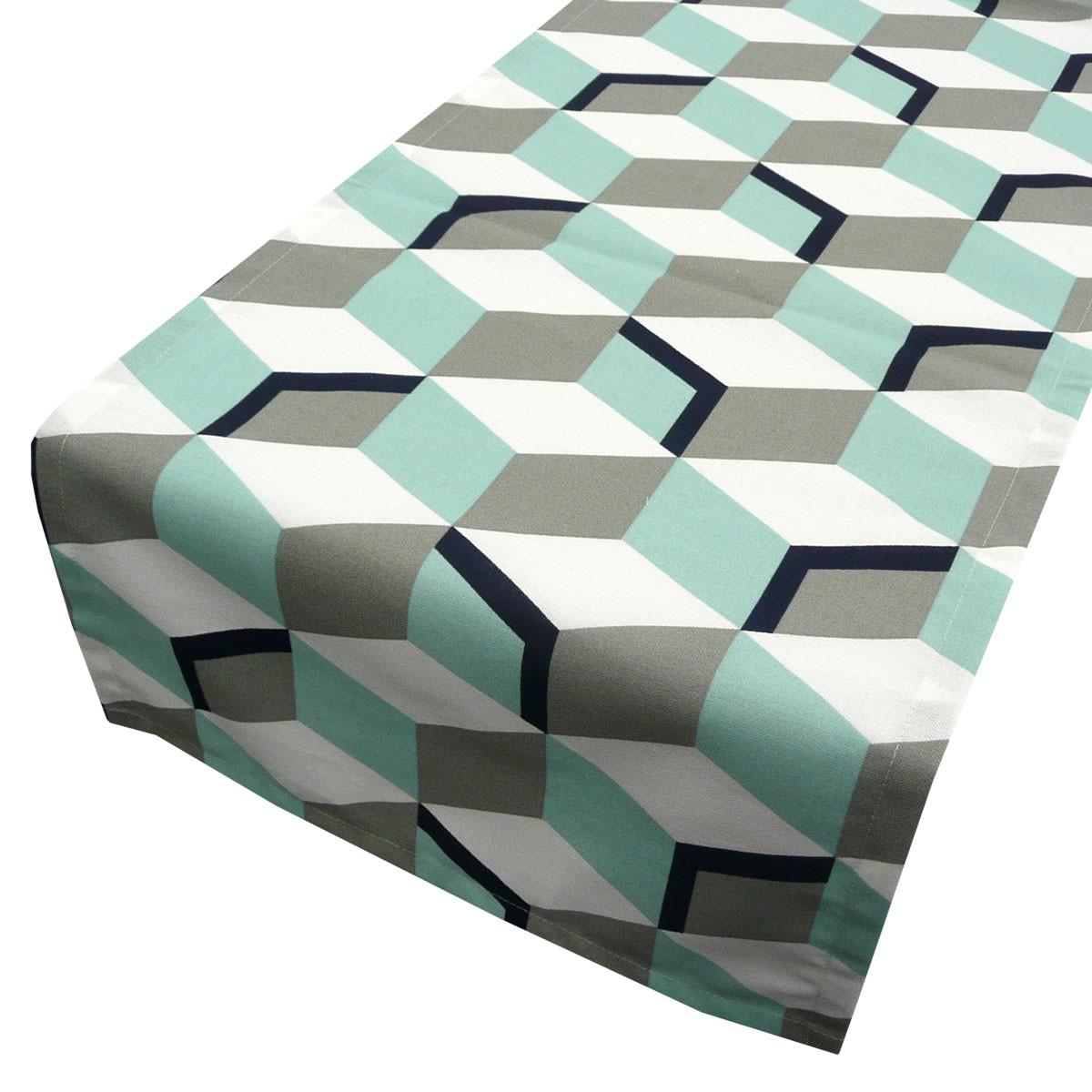 sch ner leben tischl ufer rauten mint grau 40x160cm ebay. Black Bedroom Furniture Sets. Home Design Ideas