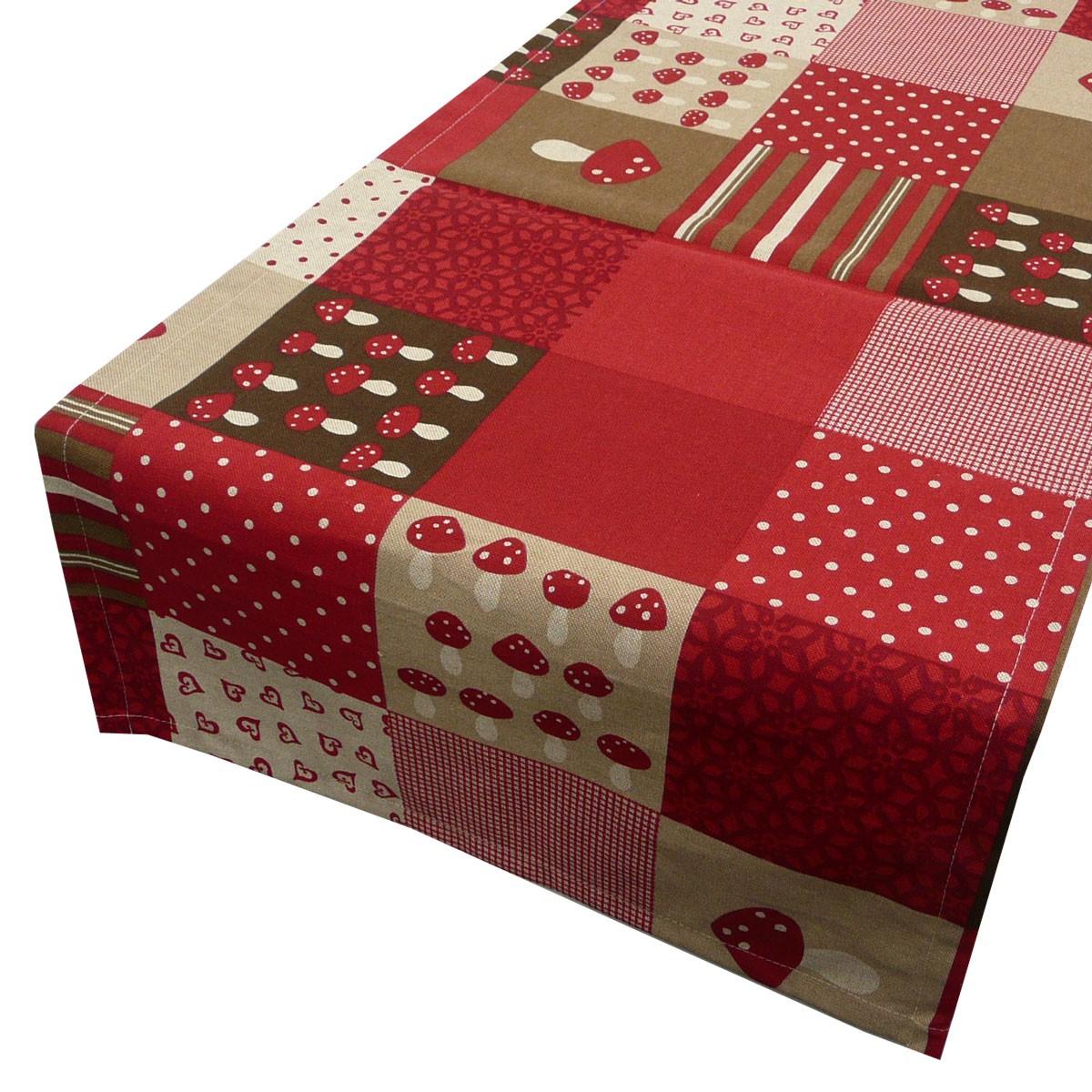 sch ner leben tischl ufer patchwork pilze rot 40x160cm ebay. Black Bedroom Furniture Sets. Home Design Ideas