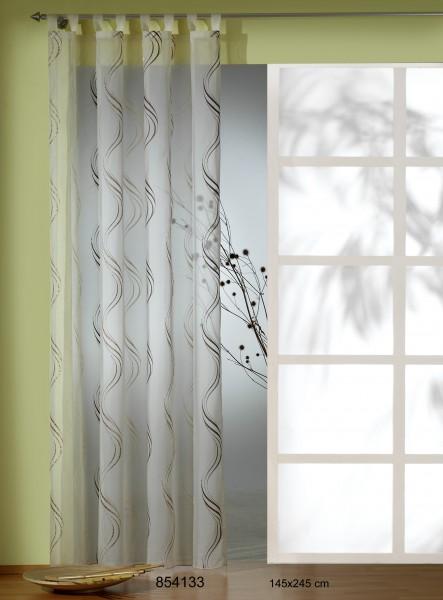schlaufenschal schlaufenvorhang fertiggardine 145x245cm stickerei champagner gardinen. Black Bedroom Furniture Sets. Home Design Ideas