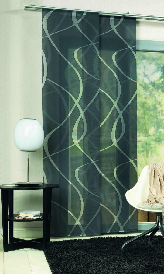 schiebevorhang fl chenvorhang wave grau 245x60cm ebay. Black Bedroom Furniture Sets. Home Design Ideas
