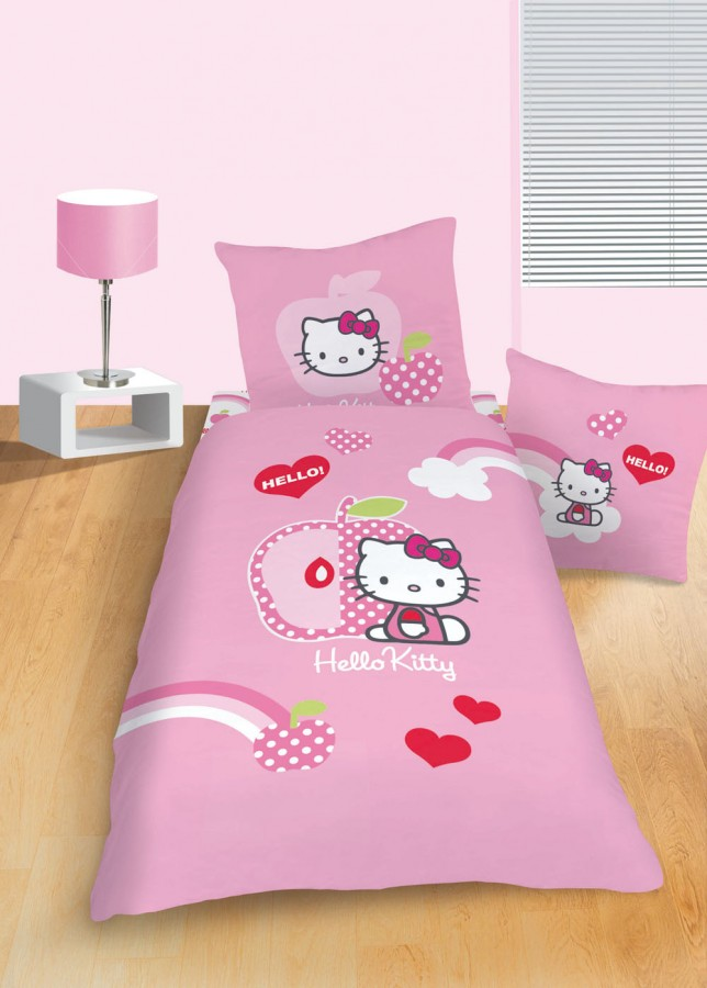 bettw sche hello kitty apple pink 135x200cm gardinen. Black Bedroom Furniture Sets. Home Design Ideas