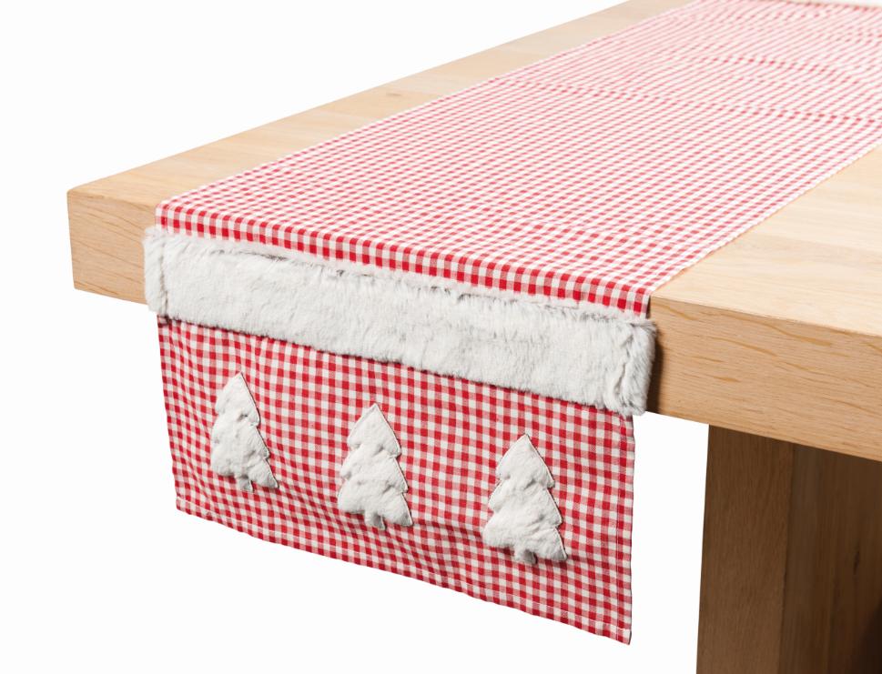 tischl ufer tischdeko weihnachten finn rot wei 40x150cm. Black Bedroom Furniture Sets. Home Design Ideas