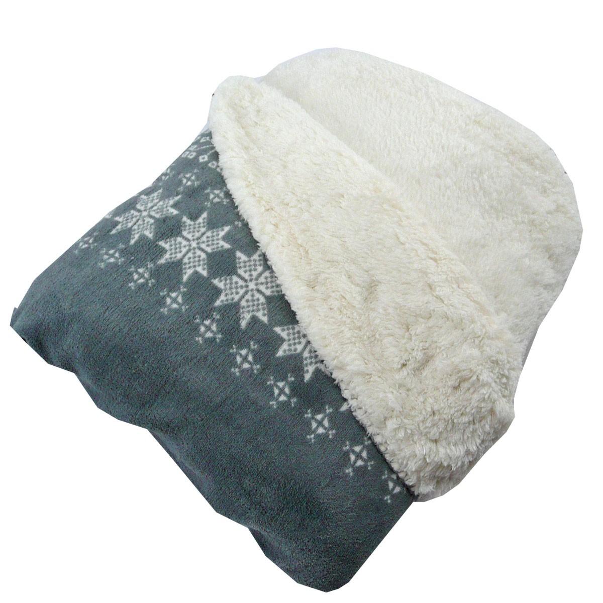 wohndecke mikrofaserdecke kuscheldecke plaid snowflake grau 130x160cm ebay. Black Bedroom Furniture Sets. Home Design Ideas