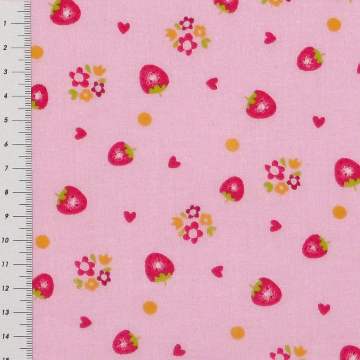 baumwolle stoff meterware erdbeeren auf rosa hintergrund stoffe stoffe gemustert stoff erdbeeren. Black Bedroom Furniture Sets. Home Design Ideas