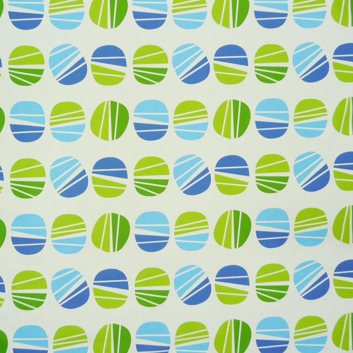 stoff dekostoff gardinenstoff meterware kreise blau gr n ebay. Black Bedroom Furniture Sets. Home Design Ideas