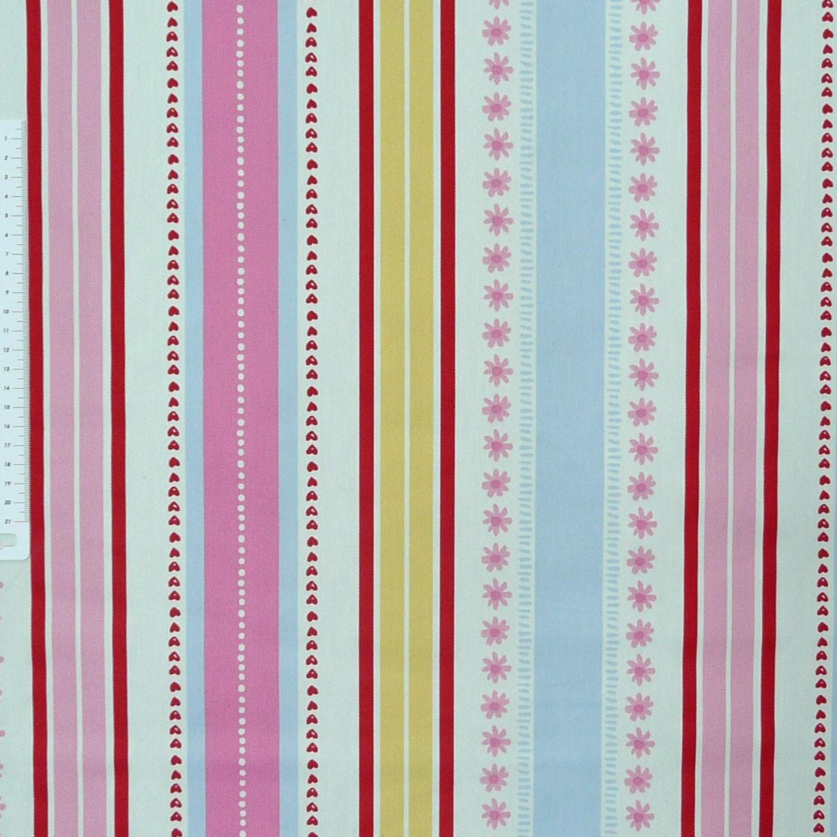 dekostoff streifen bunt mit herzen und blumen gardinenstoff stoffe stoffe gemustert stoff streifen. Black Bedroom Furniture Sets. Home Design Ideas