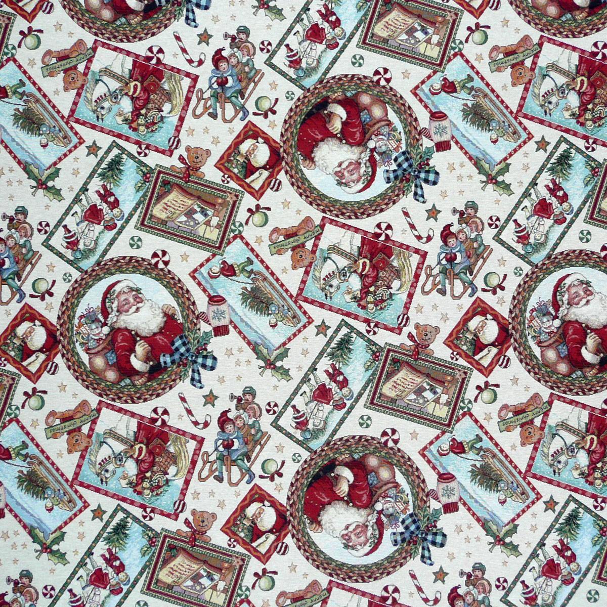 gobelinstoff stoff dekostoff meterware weihnachten santa claus patchwork ebay. Black Bedroom Furniture Sets. Home Design Ideas
