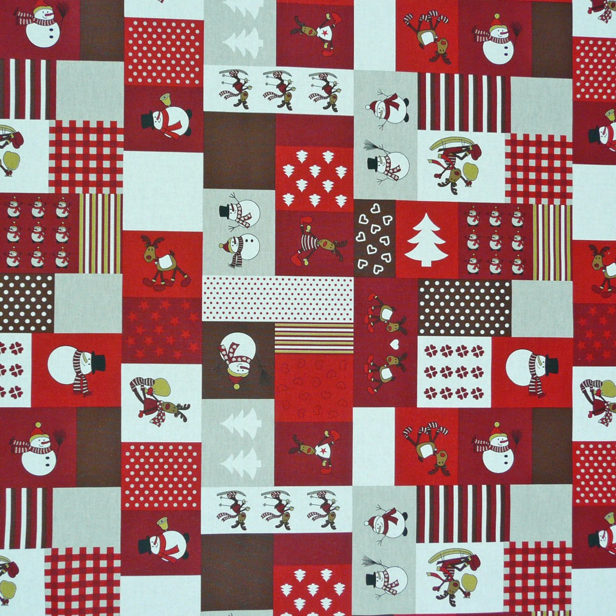 stoff dekostoff meterware schneemann elch patchwork weihnachten rot ebay. Black Bedroom Furniture Sets. Home Design Ideas