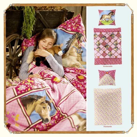 pferdebettw sche pferde bettw sche wendebettw sche pferdefreunde rosa 135x200 ebay. Black Bedroom Furniture Sets. Home Design Ideas