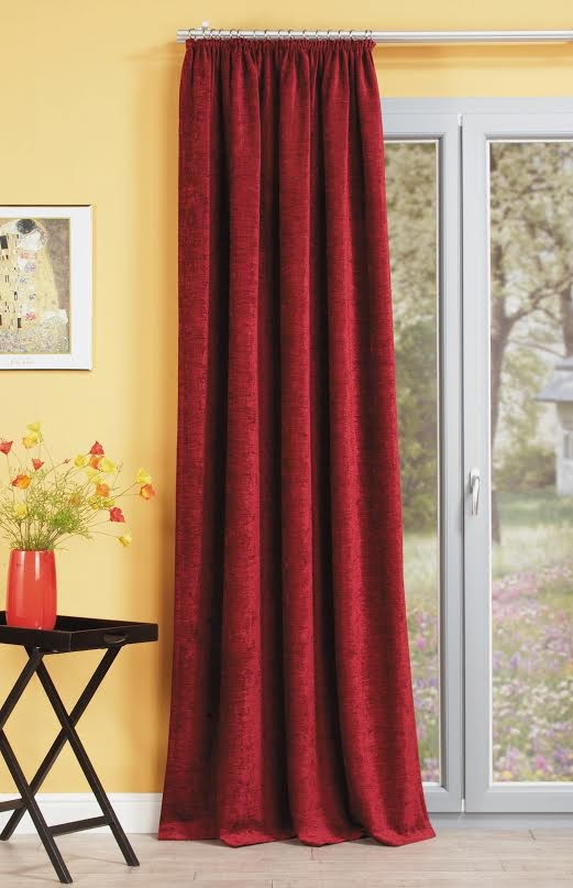 thermo chenille vorhang fertigvorhang w rmeschutz island rot 142x245cm gardinen fertiggardinen. Black Bedroom Furniture Sets. Home Design Ideas
