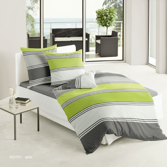 bierbaum bettw sche mako satin streifen gr n grau 135x200cm ebay. Black Bedroom Furniture Sets. Home Design Ideas
