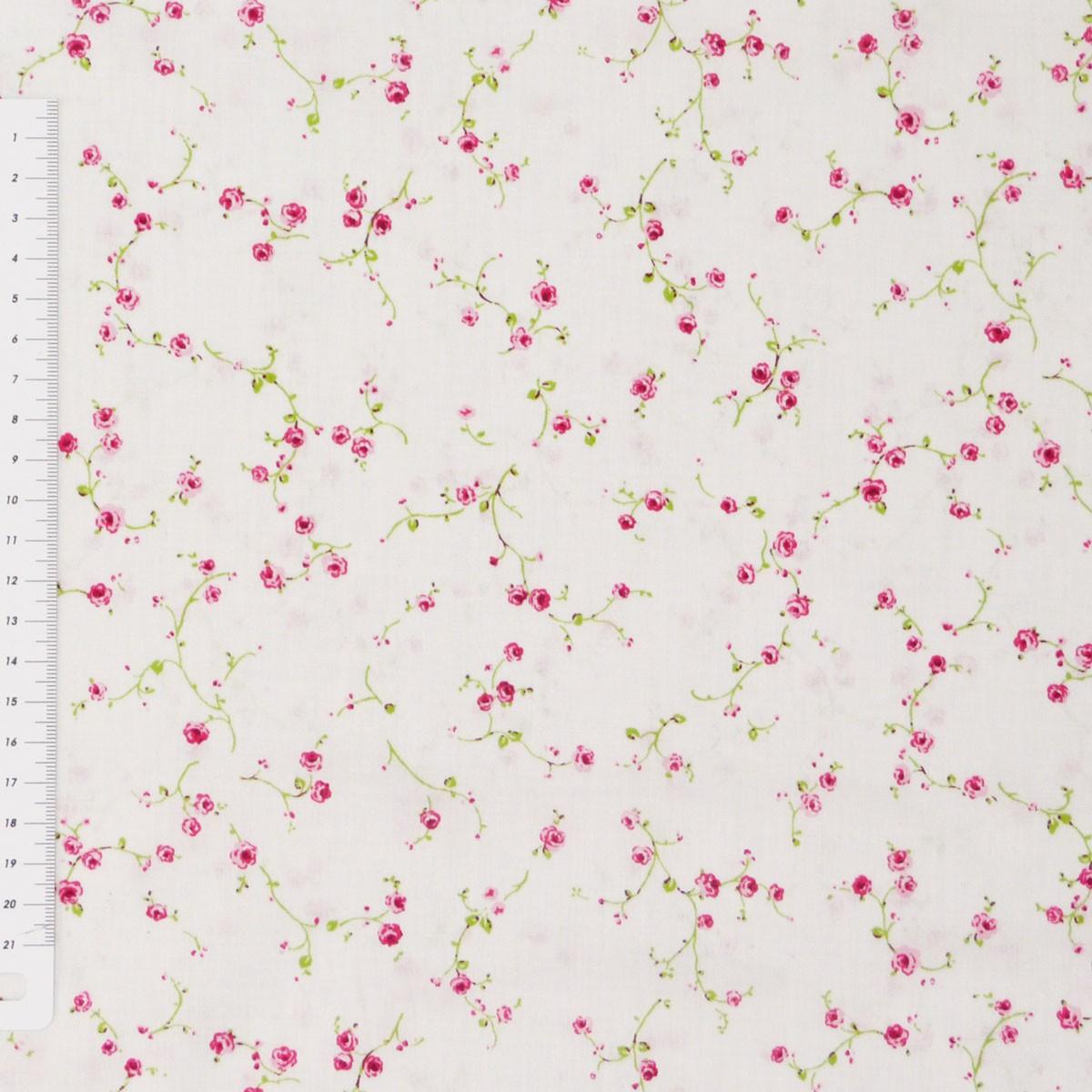 6 39 1qm baumwollstoff stoff blumen rosen girlande wei. Black Bedroom Furniture Sets. Home Design Ideas