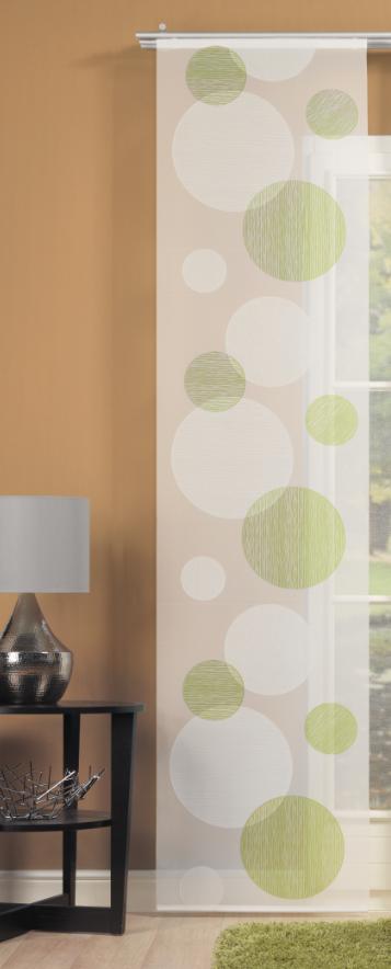schiebevorhang fl chenvorhang fl chenschal kreise gr n 60x245cm. Black Bedroom Furniture Sets. Home Design Ideas