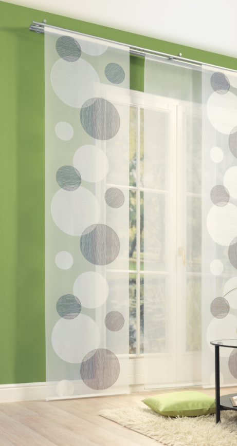 schiebevorhang fl chenvorhang fl chenschal kreise braun 60x245cm ebay. Black Bedroom Furniture Sets. Home Design Ideas