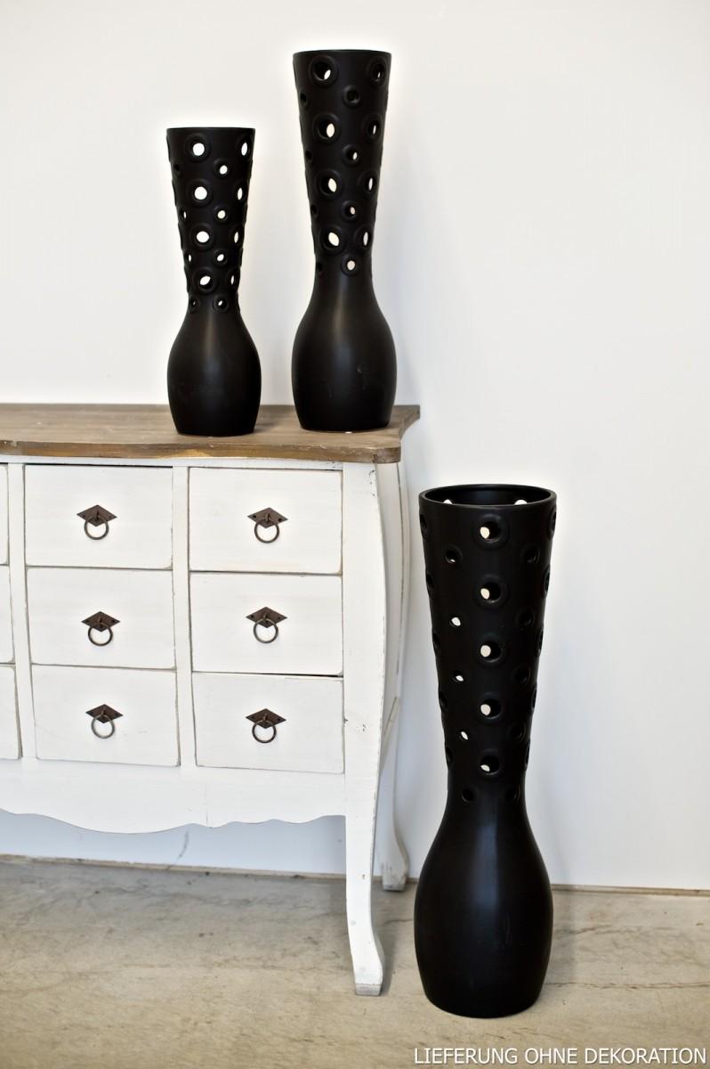 vase design l cher schwarz keramik h 40cm ebay. Black Bedroom Furniture Sets. Home Design Ideas