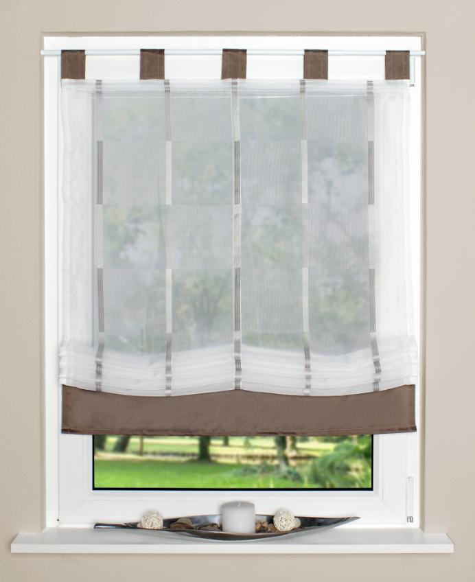 raffrollo rollo schlaufen wei transparent mit braunen streifen 120x140cm gardinen. Black Bedroom Furniture Sets. Home Design Ideas