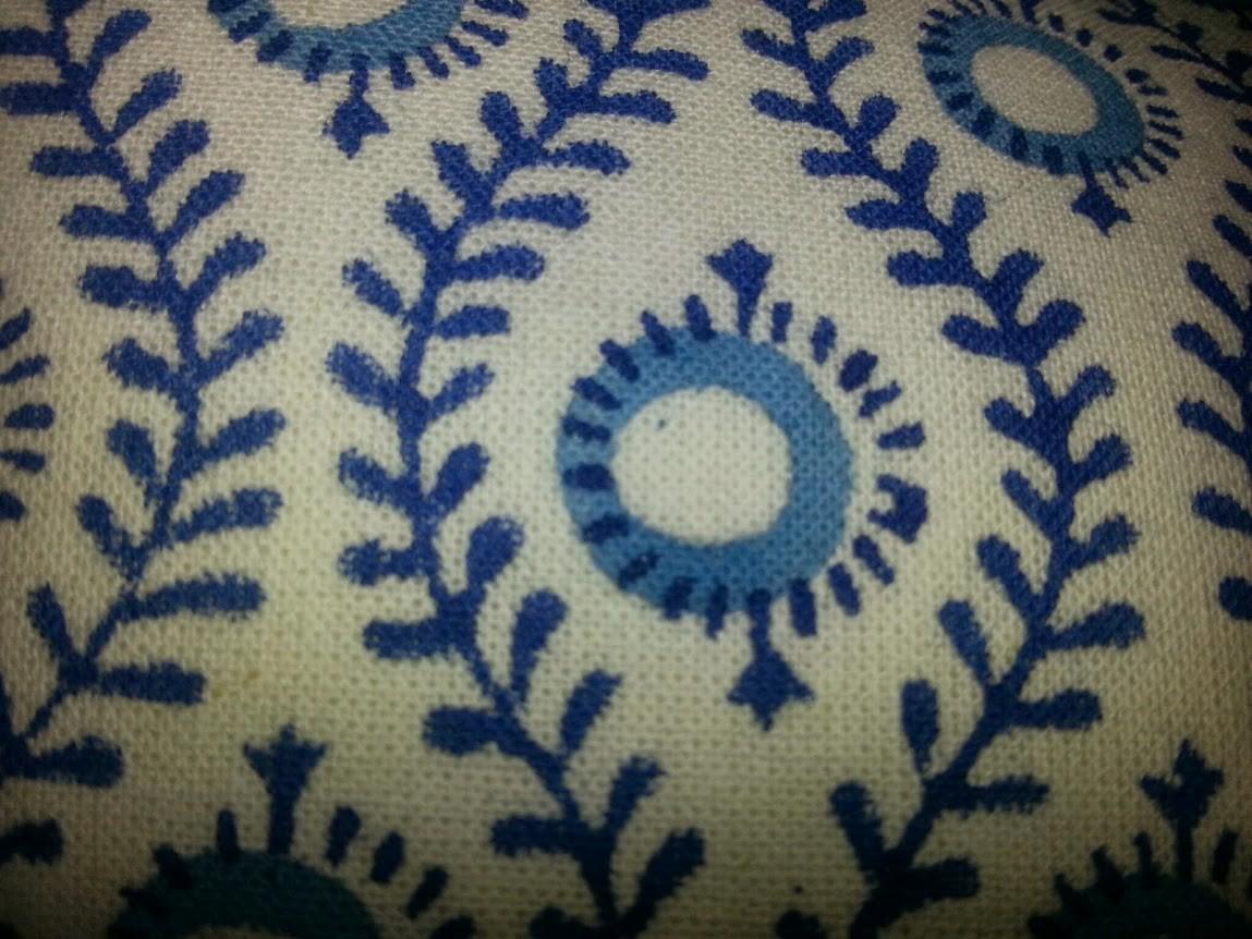 bungalow handbedruckte kissenh lle retromuster blau 40x60cm ebay. Black Bedroom Furniture Sets. Home Design Ideas