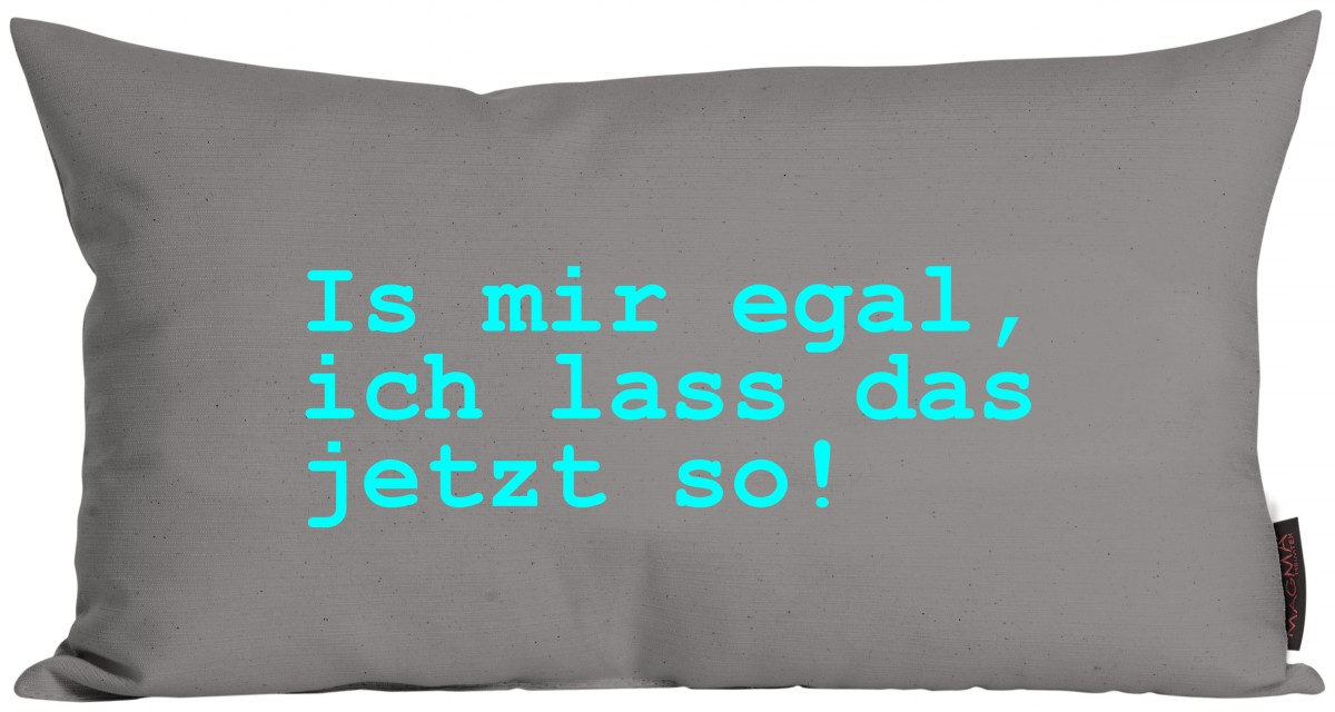 kissen spruchkissen zitate is mir egal ich lass das jetzt so 30x50cm grau ebay. Black Bedroom Furniture Sets. Home Design Ideas