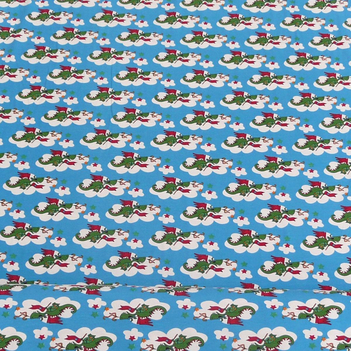 janeas world jersey kinder stoff fliegende drachen blau stoffe stoffe gemustert kinderstoffe. Black Bedroom Furniture Sets. Home Design Ideas