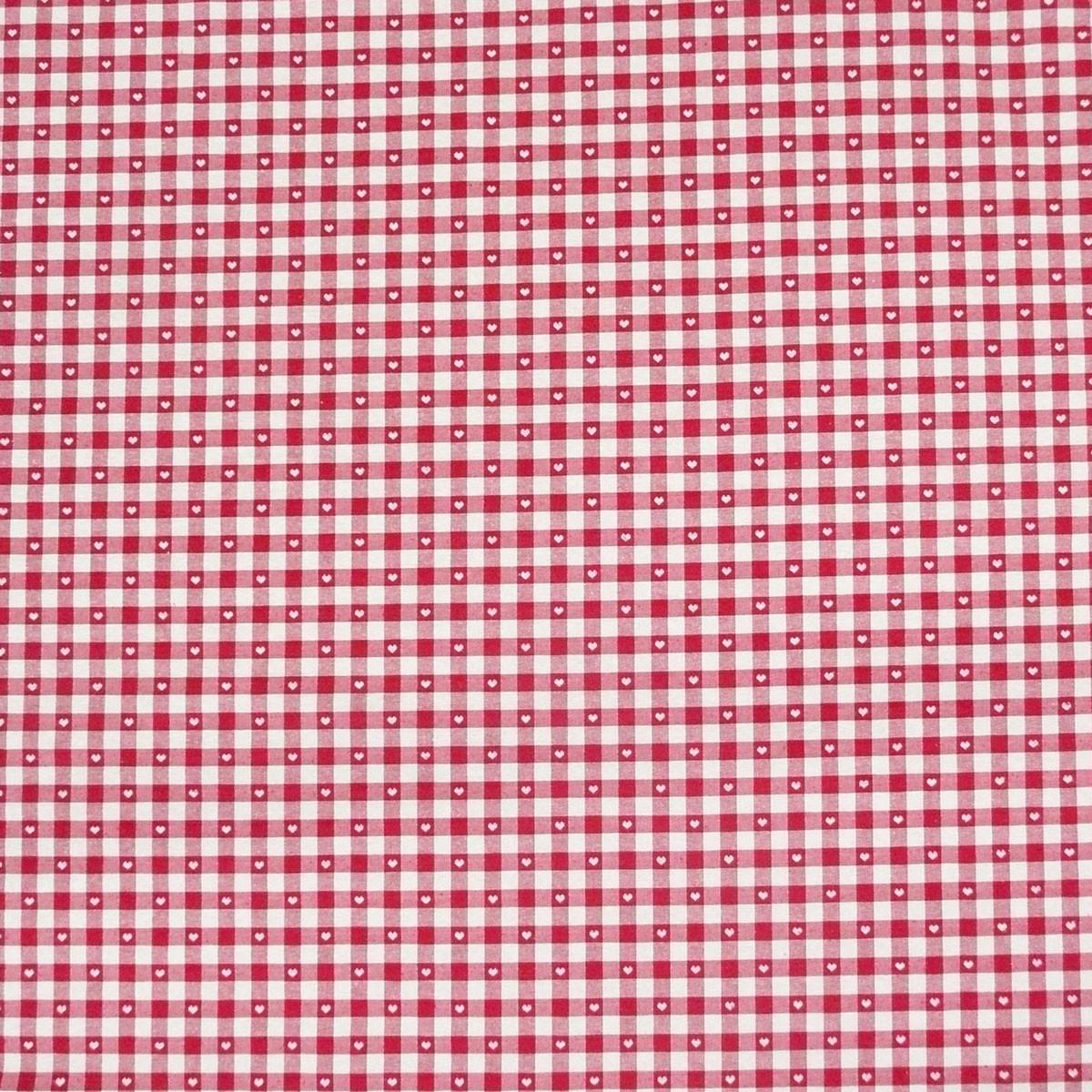gardinenstoff stoff dekostoff meterware kariert mit herzen rot wei stoffe stoffe gemustert. Black Bedroom Furniture Sets. Home Design Ideas