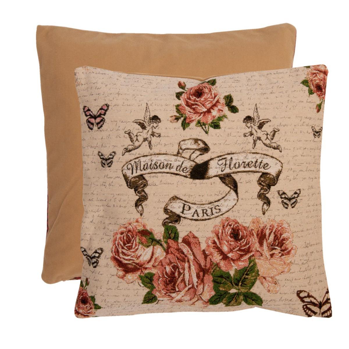clayre eef kissenh lle natur rosen und schmetterling 40x40cm wohntextilien kissen nostalgie. Black Bedroom Furniture Sets. Home Design Ideas