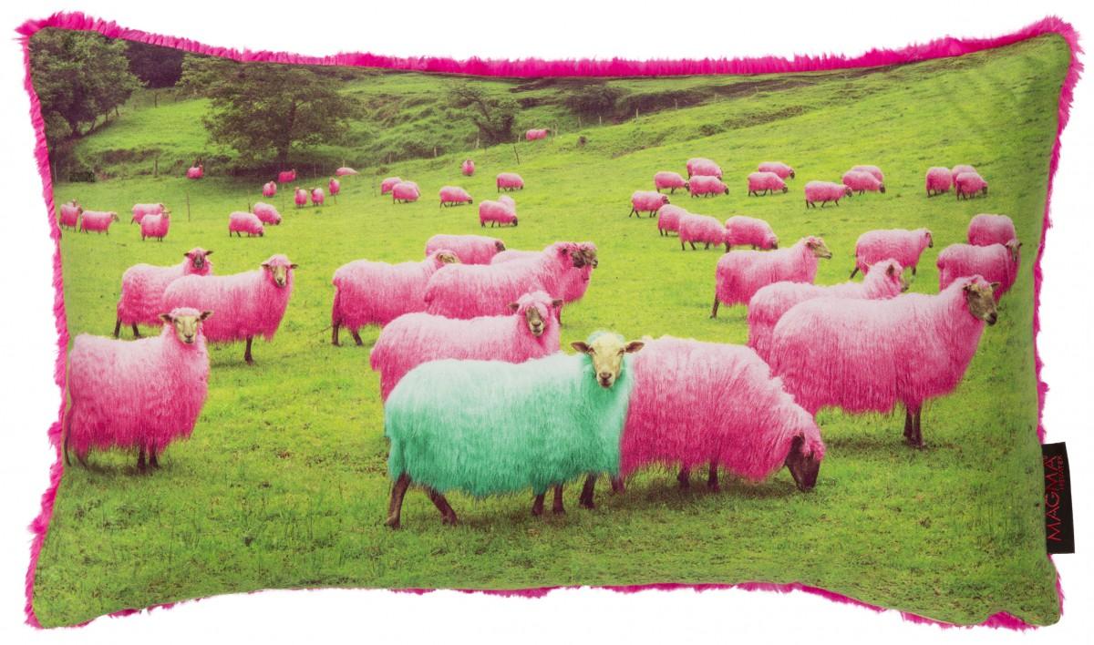 kissen kissenh lle schmusi schafe pink gr n 30x50cm. Black Bedroom Furniture Sets. Home Design Ideas