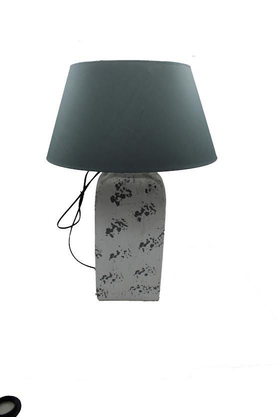 tischlampe lampe mit lampenfu vintage keramik wei eckig. Black Bedroom Furniture Sets. Home Design Ideas