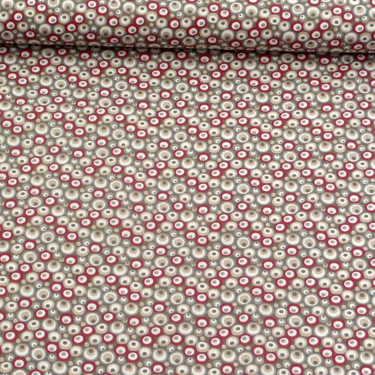 baumwollstoff stoff meterware kreise grau rot beige wei 1 6m breite stoffe stoffe gemustert. Black Bedroom Furniture Sets. Home Design Ideas