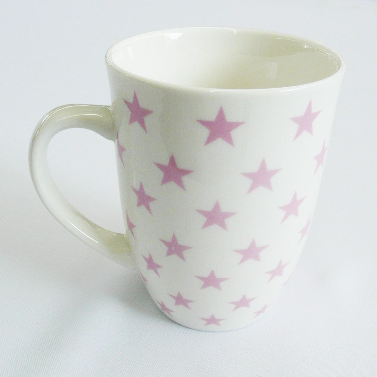 mea living kaffee tasse becher wei mit sterne rosa wohnen kochen und genie en geschirr gl ser. Black Bedroom Furniture Sets. Home Design Ideas