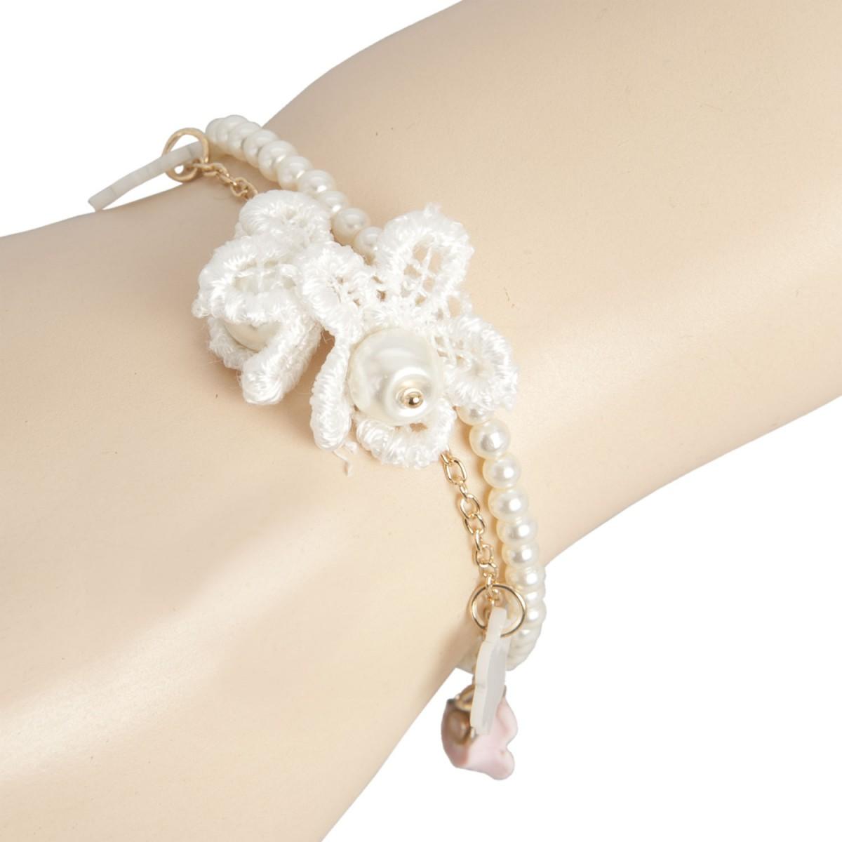 clayre eef armband perlen mit h ckelanh nger und blumen kettchen 7cm mode clayre eef. Black Bedroom Furniture Sets. Home Design Ideas