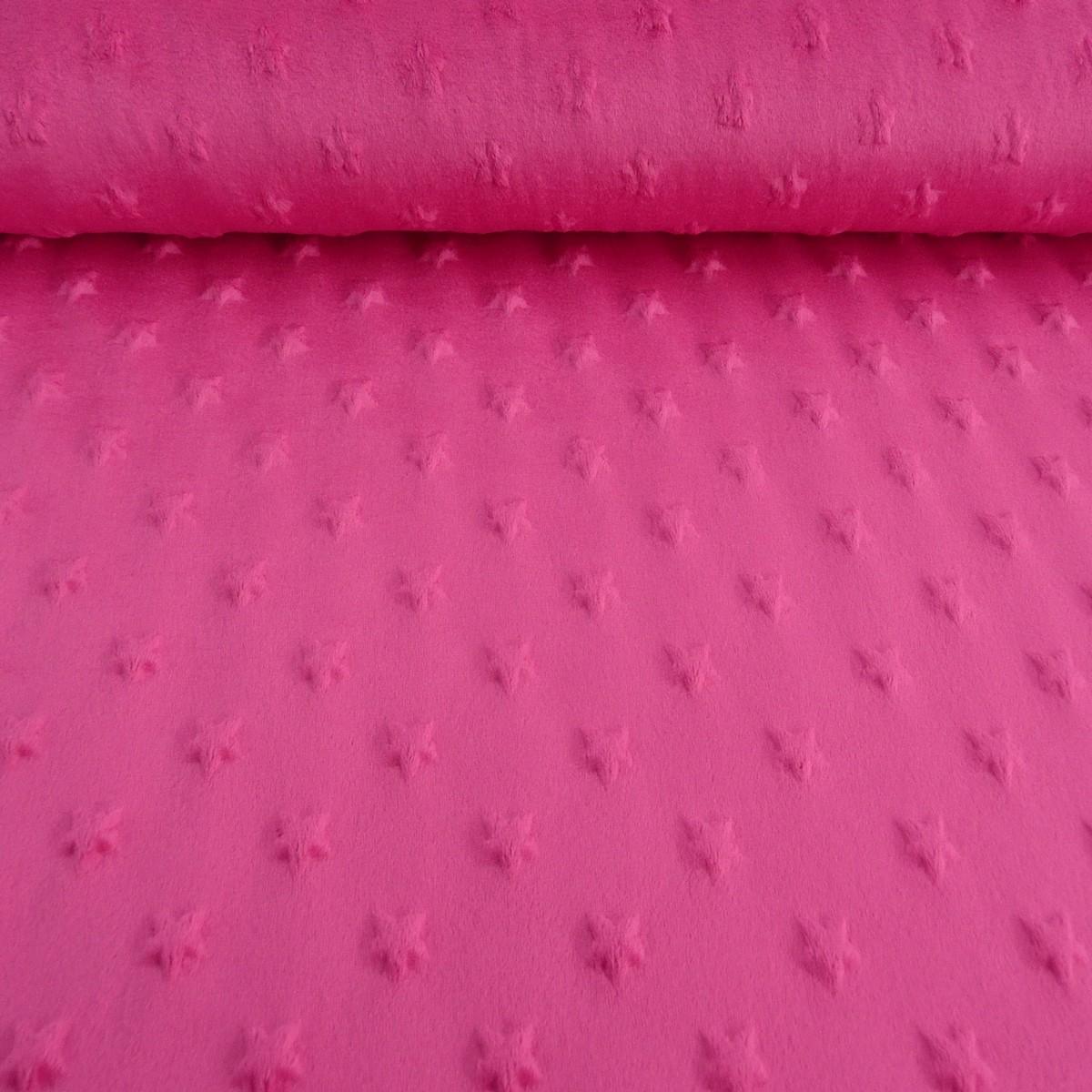 fleece minky stars sterne noppen pink flausch stoff fell pl sch stoffe stoffe uni fleece. Black Bedroom Furniture Sets. Home Design Ideas