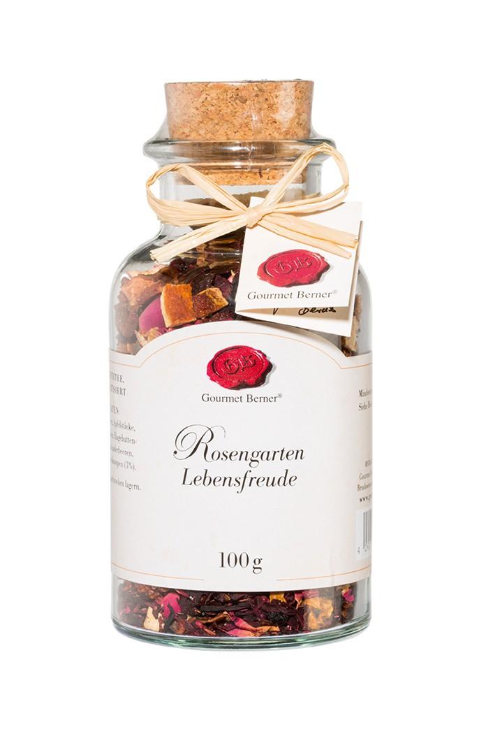 rosengarten lebensfreude tee mischung im glas 100g geschenkideen kulinarisches. Black Bedroom Furniture Sets. Home Design Ideas
