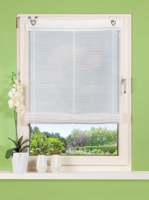 raffrollo mit fensterhaken d nne streifen wei 60x140cm. Black Bedroom Furniture Sets. Home Design Ideas