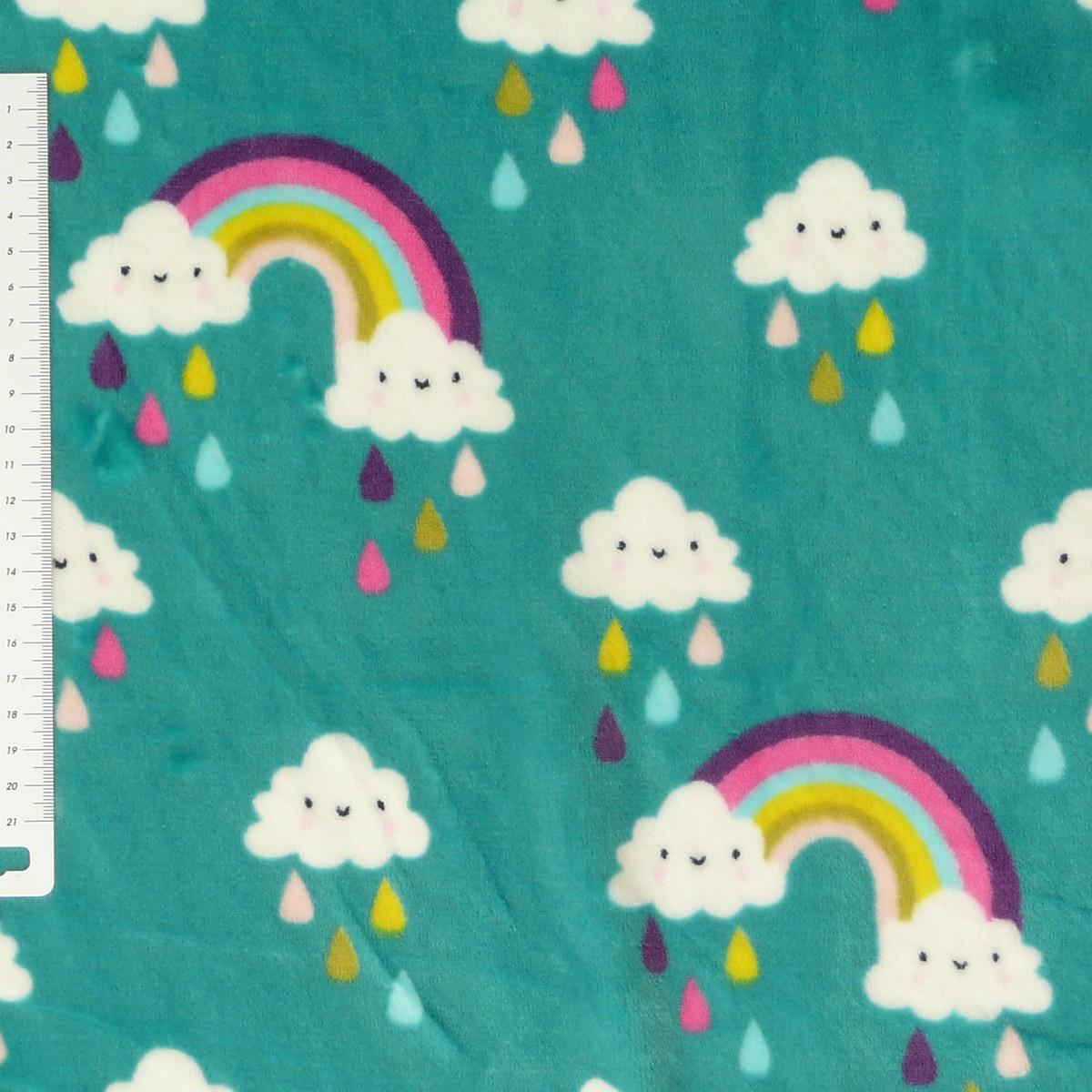 wellness nicki fleece stoff regenbogen wolke t rkis stoffe stoffe gemustert kinderstoffe. Black Bedroom Furniture Sets. Home Design Ideas