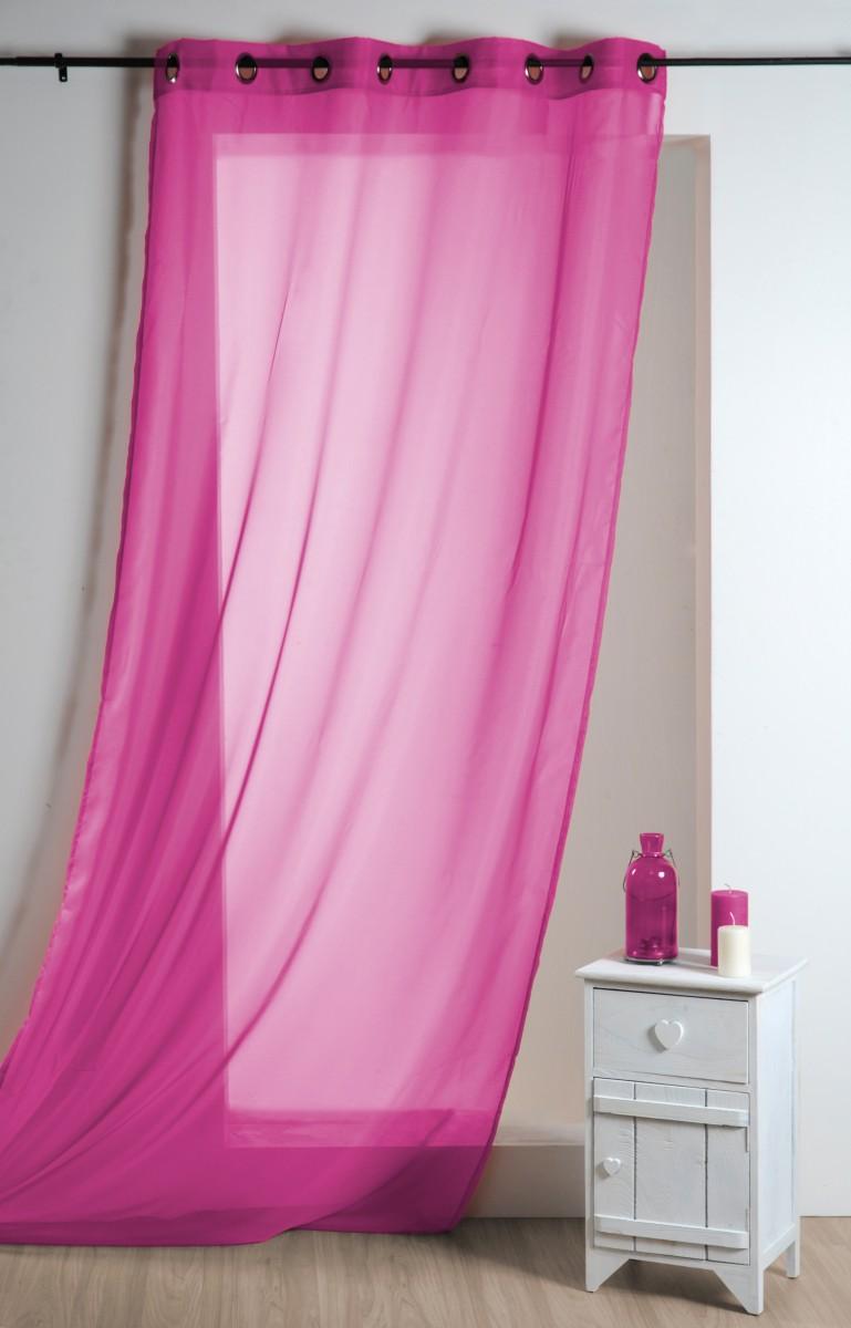 Fertiggardine sengardine einfarbig voile pink 135x260cm for Gardinen pink
