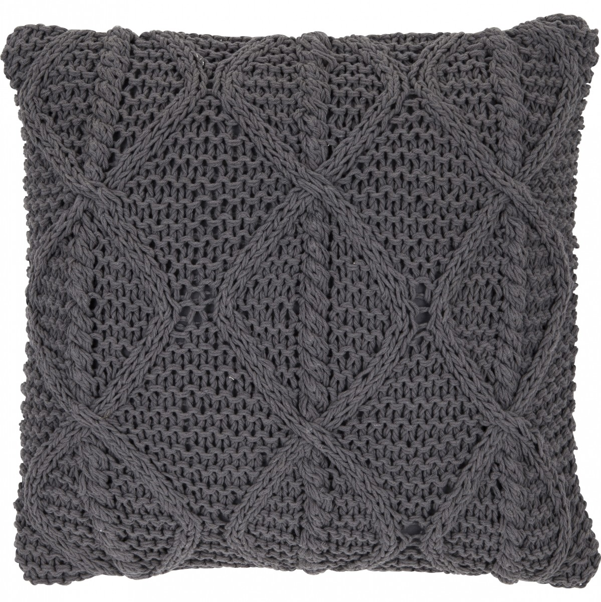 kissen deko milan strick dunkelgrau 45x45cm wohntextilien. Black Bedroom Furniture Sets. Home Design Ideas