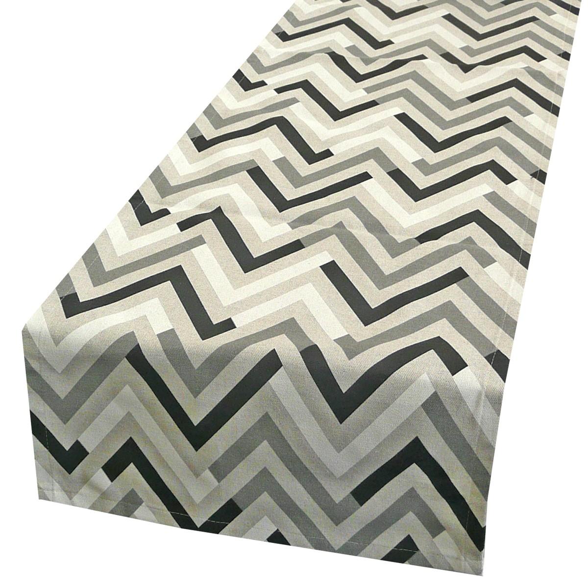 sch ner leben tischl ufer chevron zacken farbverlauf schwarz grau wei 40x160cm ebay. Black Bedroom Furniture Sets. Home Design Ideas