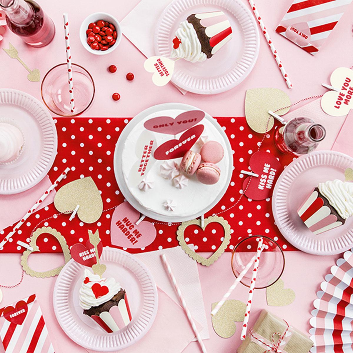 Tischdeko rot weiß