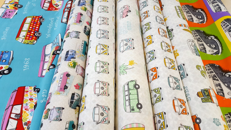 vw bus stoffe lizenzstoffe mit dem kultbus von vw. Black Bedroom Furniture Sets. Home Design Ideas