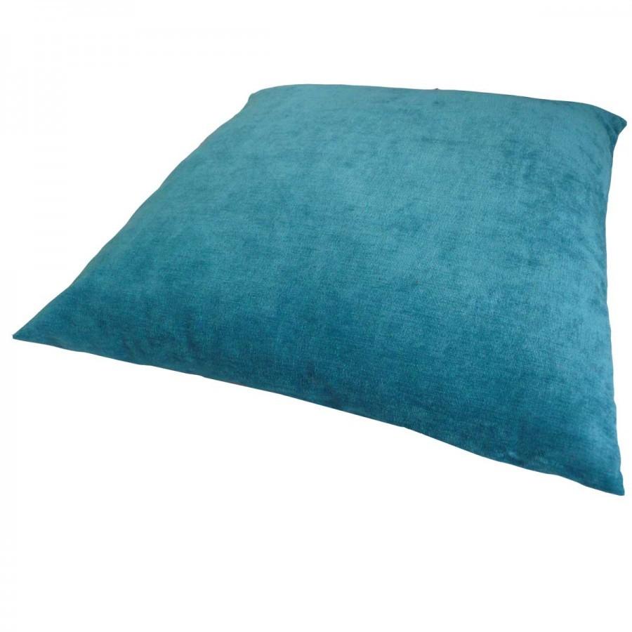 kissen dekokissen mit f llung 47x47cm luciano petrol wohntextilien kissen klassisch uni. Black Bedroom Furniture Sets. Home Design Ideas