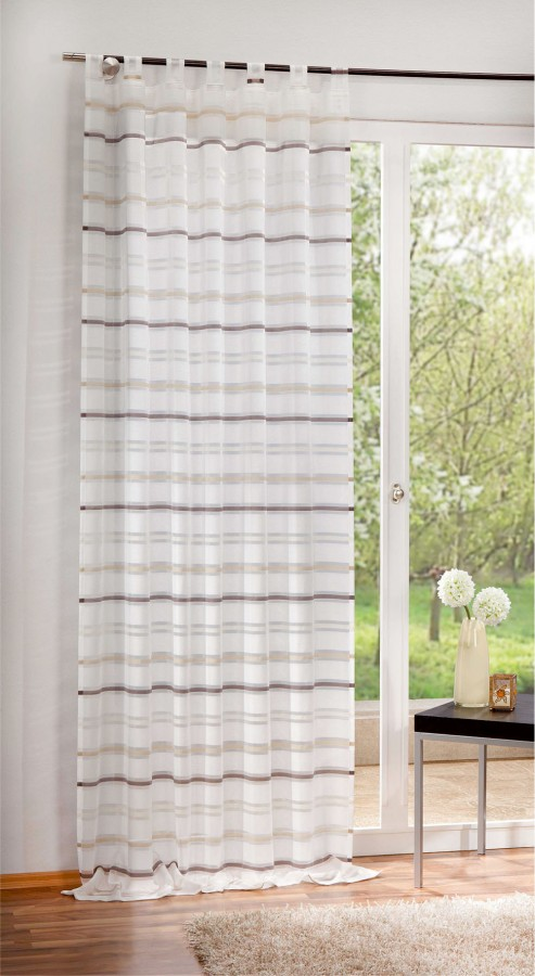 fertigschal dekoschal fertiggardine 140x245cm querstreifen braun creme gardinen fertiggardinen. Black Bedroom Furniture Sets. Home Design Ideas
