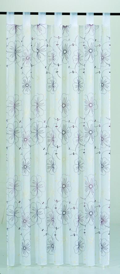 schlaufenschal schlaufenvorhang fertiggardine 145x245cm stickerei blumen beere gardinen. Black Bedroom Furniture Sets. Home Design Ideas