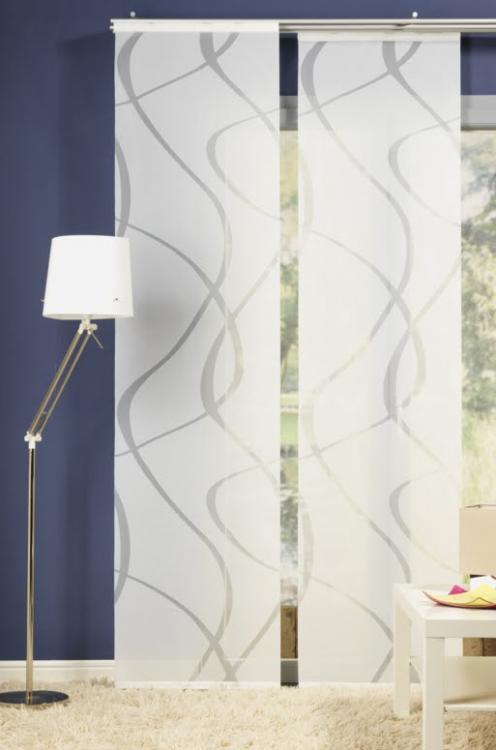 schiebevorhang fl chenvorhang wave wei 245x60cm gardinen. Black Bedroom Furniture Sets. Home Design Ideas