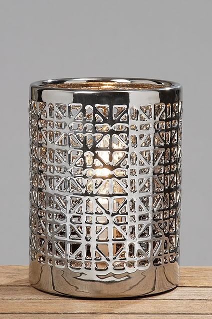 tischlampe lampe fornax silber 20x15cm wohnen wohnaccessoires lampen lampen. Black Bedroom Furniture Sets. Home Design Ideas