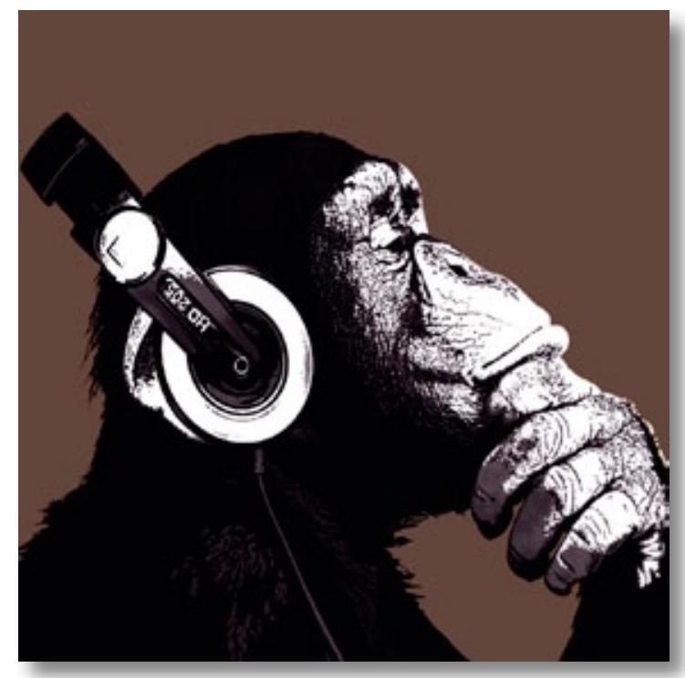 Oversize wanddekoration bild affe the chimp stereo auf mdf for Wanddekoration bilder